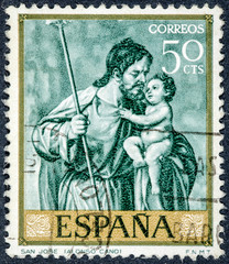 stamp printed by Spain, shows Saint Joseph by Alonso Cano