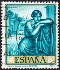 stamp printed by Spain, shows Poem of Cordoba by Romero de Torres