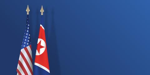 drapeau - Corée du nord - États Unis - coréen - américain - présentation - fond - paix - arme nucléaire