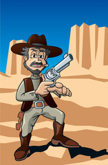 Revolver Held im Monument Valley, Arizona, USA, Cartoon, Szene