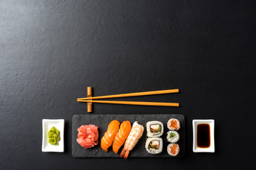 Set of Japanese sushi. Copy space