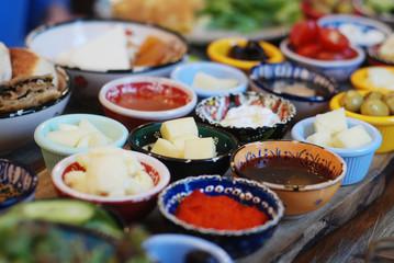Traditional Turkish breakfast plates