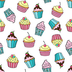 Seamless pattern with cupcakes on a white background. Sweet cakes decorated with cherry, strawberry, glaze and cream. Vector illustration