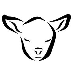 Lamb or calf with closed eyes, head