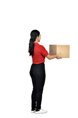 Young asian female courier deliver the package