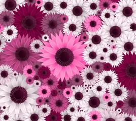 Vector flowers illustration. 3D floral background. Spring print.