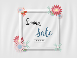 Summer sale background with beautiful colorful flower on a white background, Vector illustration