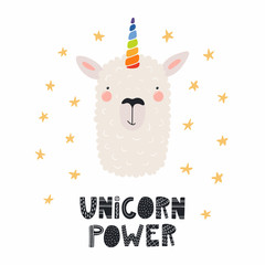 Hand drawn vector illustration of a cute funny llama with a unicorn horn, lettering quote Unicorn power. Isolated objects. Scandinavian style flat design. Concept for children print.