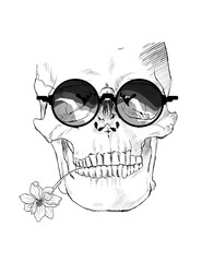 Illustration of a skull in a sunglasses, with a flower in the teeth. Isolated over white background
