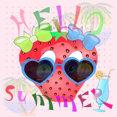 strawberry cartoon cute summer poster