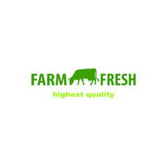 Cow logo. Farm milk emblem. Dairy product logo.
