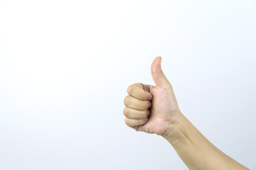 hand with thumb up on white background.