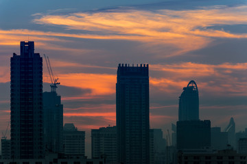 Silhouette of Bangkok city view with beautiful sunrise background