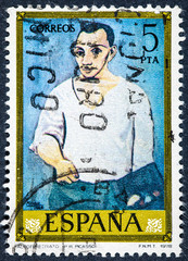 stamp printed by Spain, shows self-portrait  by Pablo Ruiz Picasso