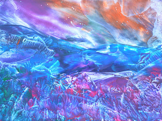 Abstract Picture, Oil Painting on a Canvas, Landscape, Symbolical Mountain