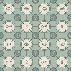 pattern with alchemy symbols.