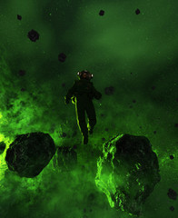 3d illustration of an Astronaut in Asteroid Field,scifi fiction