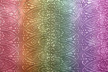 Beautiful rainbow background, holographic acrylic paint, vintage oriental pattern