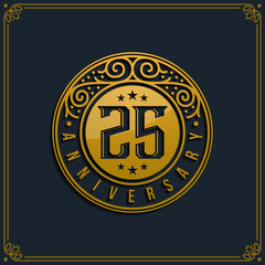 25th Anniversary Celebration, Birthday, Reunion Logo template Vector Design