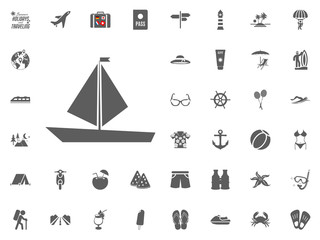 Sailing boat icon. Summer holidays and Traveling vector icons set.