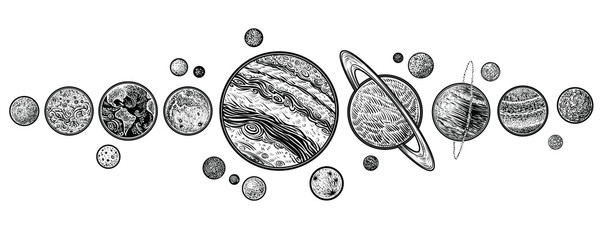 Planets in solar system hand drawn vector illustrations.