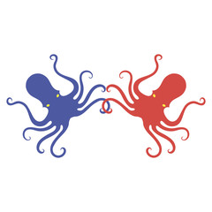 Colorful Octopus Icon. Stilized Logo Design. Sea Food Symbol.