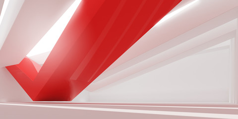 3D stimulate of white interior space and red line with sun light cast the shadow on the wall and...