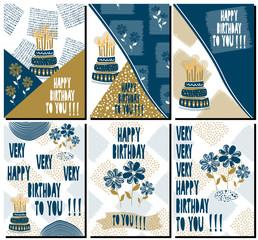 Set of modern Happy birthday greeting cards design.