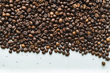 Top view of the surface with coffee beans