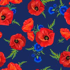 Tuinposter Botanisch red poppies and cornflowers