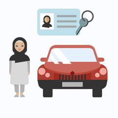 Vector illustration of arabic woman.