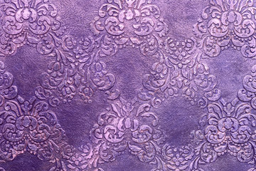 Beautiful purple background, acrylic paint, vintage oriental pattern