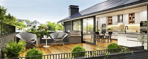 Modern house with terrace Wall mural
