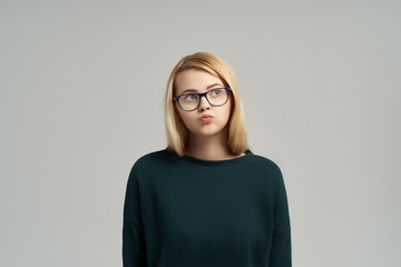 Portrait of blonde on isolated background.