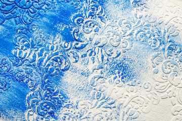 Halftone textured paper, blue and white pattern, Unfinished acrylic pattern, volumetric paint, painting and decorating walls