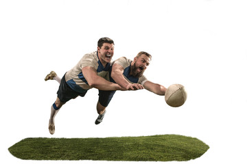 The silhouette of two caucasian rugby man player isolated on white background