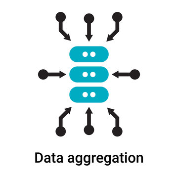 Data aggregation icon vector sign and symbol isolated on white background, Data aggregation logo concept