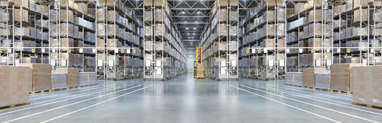 Poster Industrial geb. Huge distribution warehouse with high shelves