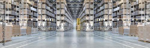 Wall mural Huge distribution warehouse with high shelves