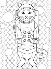 pop art background. Children coloring, black lines, white background cat in a spacesuit and cosmonaut costume. vector imitation comic style text bubble
