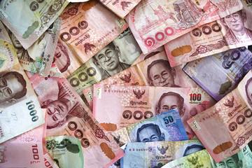Thailand Bath banknotes background.