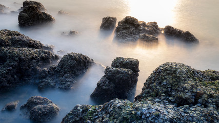rock and seascape with long exposure