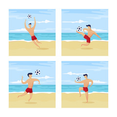 Vector character set, beach football players