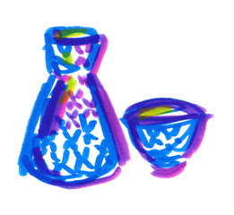 Blue bottle and cup of sake painted in highlighter markers on clean white background