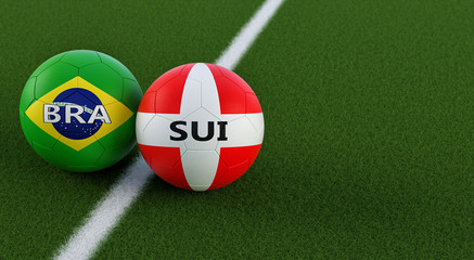Switzerland vs. Brazil Soccer Match - Soccer balls in Swiss and Brasil national colors on a soccer field. Copy space on the right side - 3D Rendering