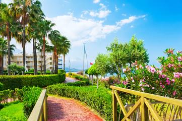 Beautiful promenade with green trees in Kemer, Turkey.