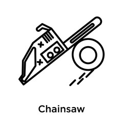 Chainsaw icon vector sign and symbol isolated on white background, Chainsaw logo concept