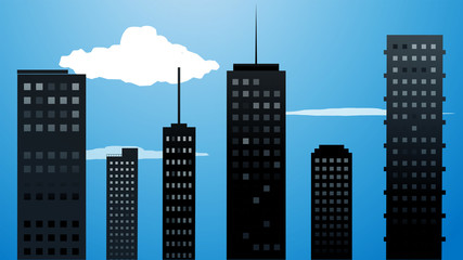 Vector drawing skyscrapers with clouds at night, city concept illustration