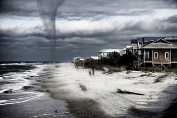 Hurricane approaching to the beach