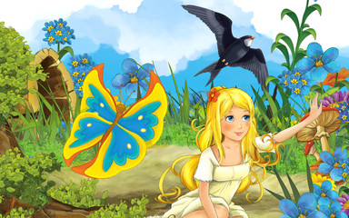 cartoon scene with young beautiful girl butterfly and cuckoo bird on the meadow - illustration for children